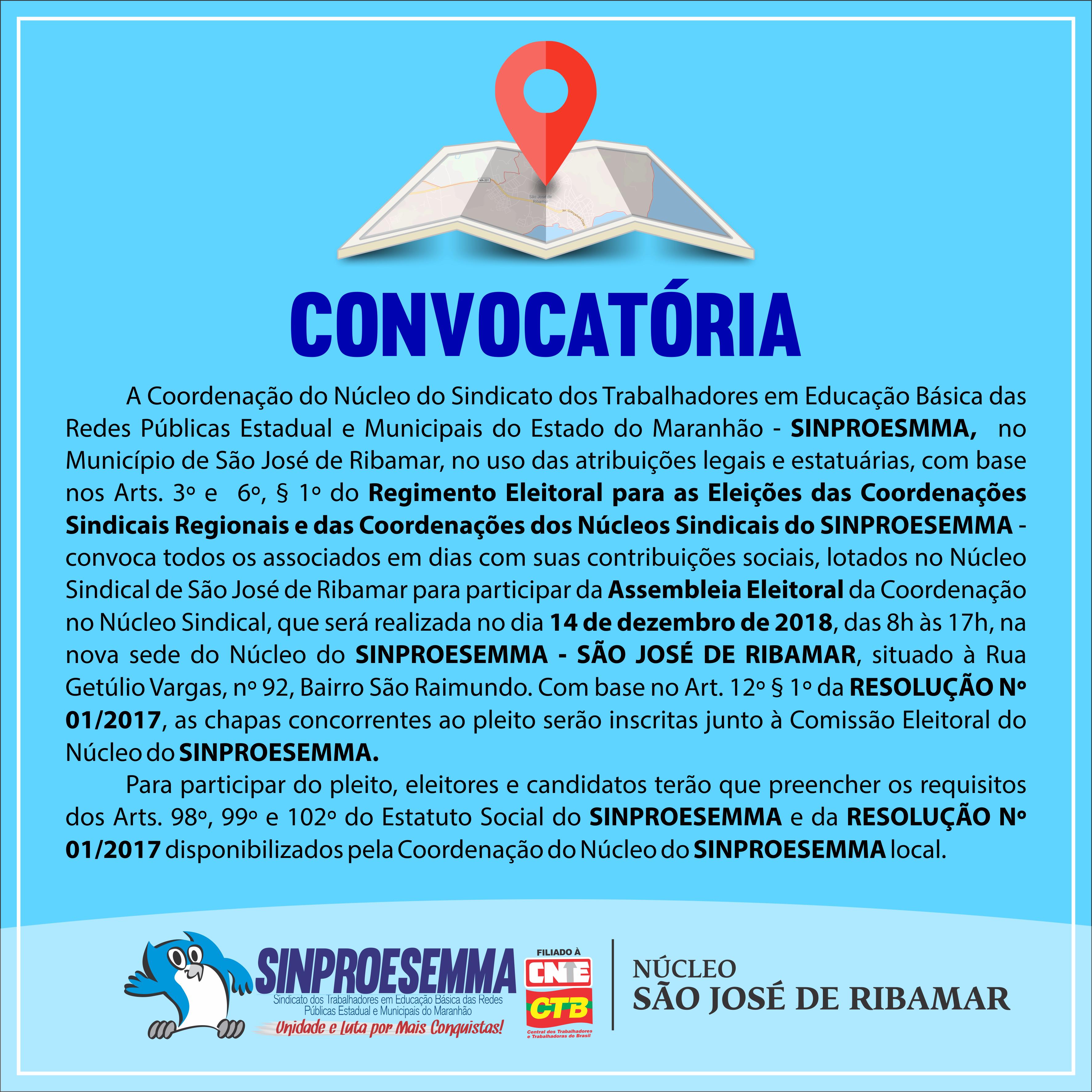 Convocação de Assembleia Eleitoral - Núcleo São José de Ribamar