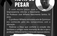 Nota de Pesar - Professor José Willame Nascimento Santos